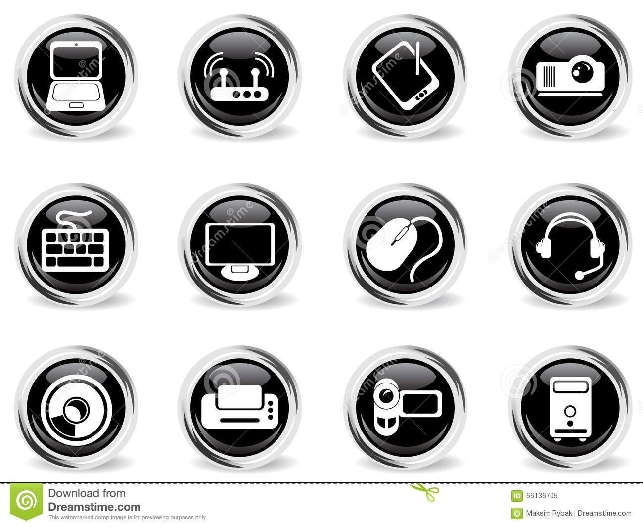Computer Equipment Simple Vector Icons Stock Vector