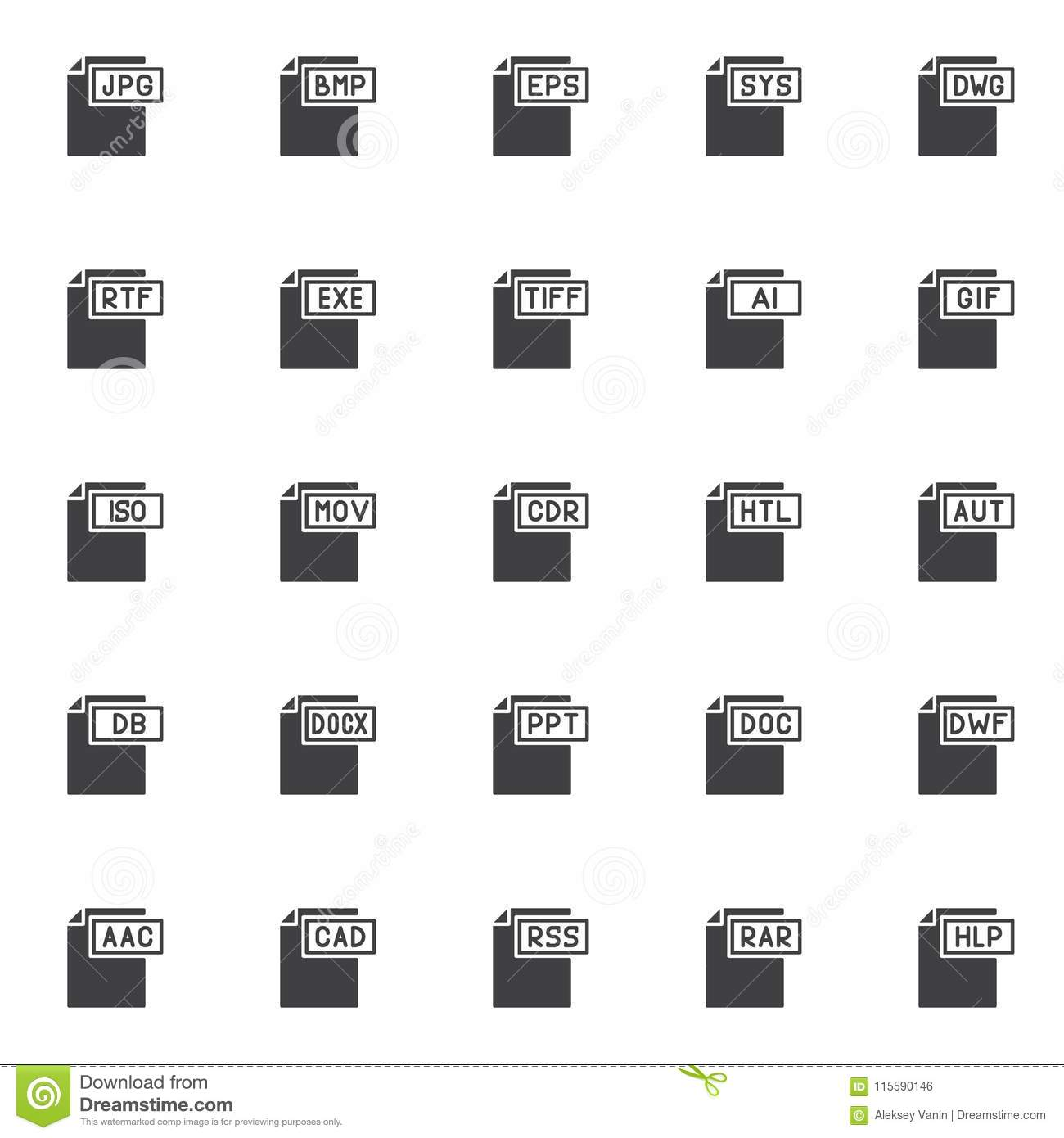 Computer File Formats Vector Icons Set Stock Vector