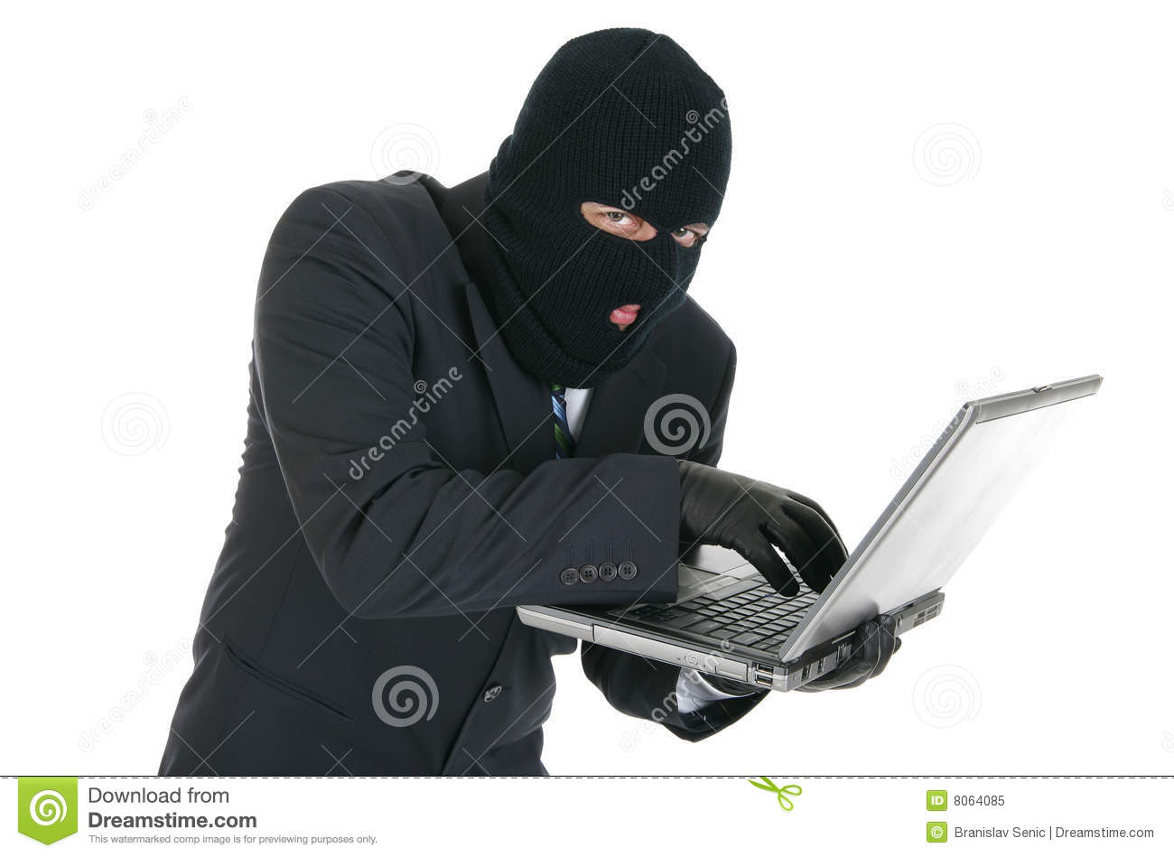 Computer Hacker Criminal With The Laptop Royalty Free