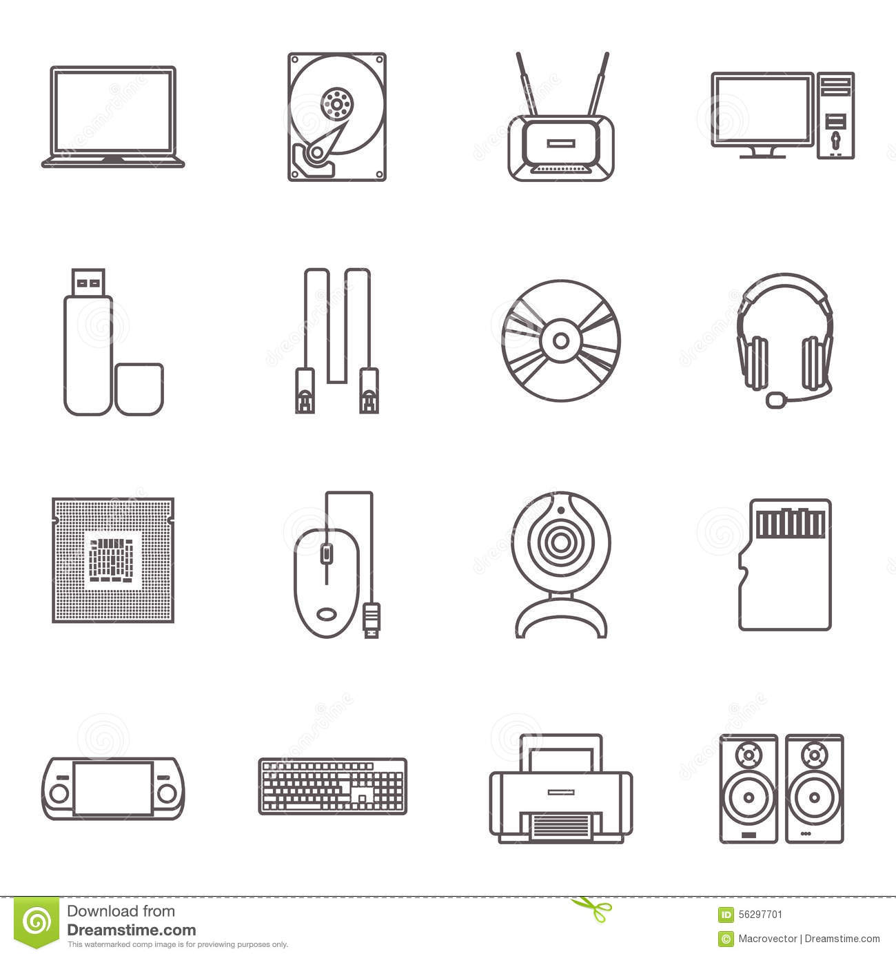 Computer Hardware And Accessories Icon Set Stock Vector