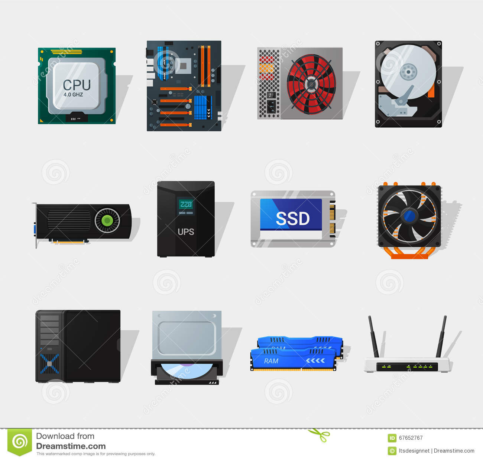 Computer Hardware Flat Icon Stock Vector