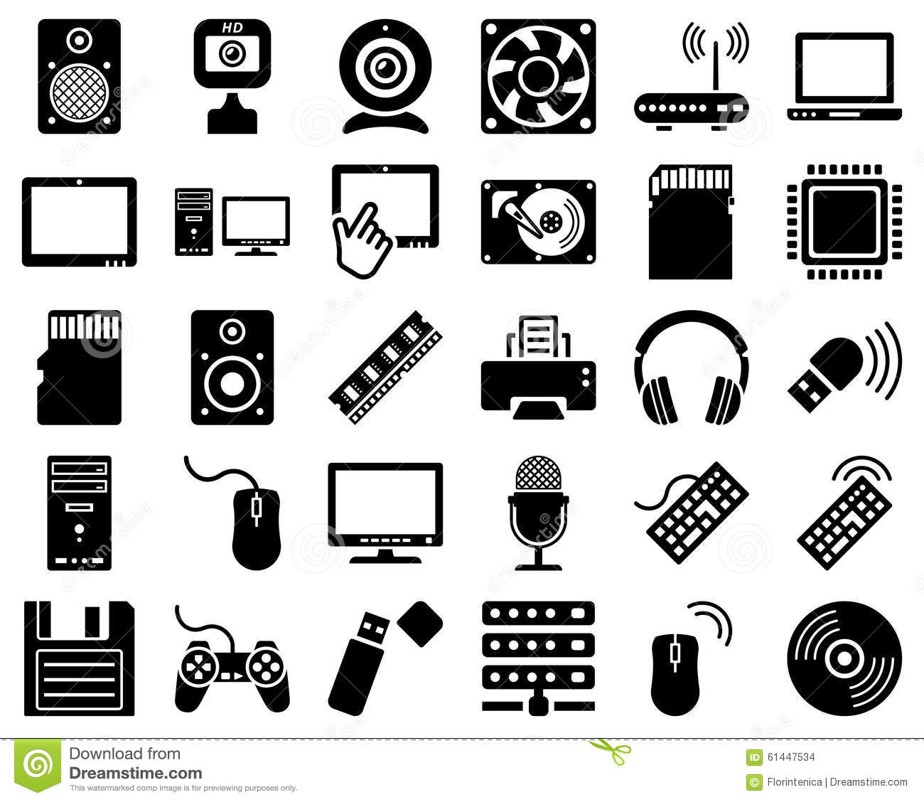 Computer Hardware Icon Set Stock Vector