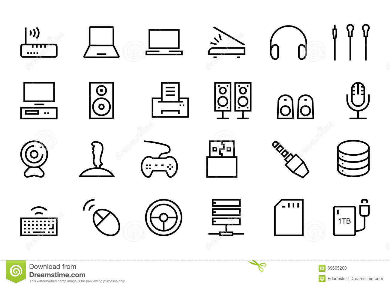 Computer Hardware Vector Line Icons 2 Stock Illustration