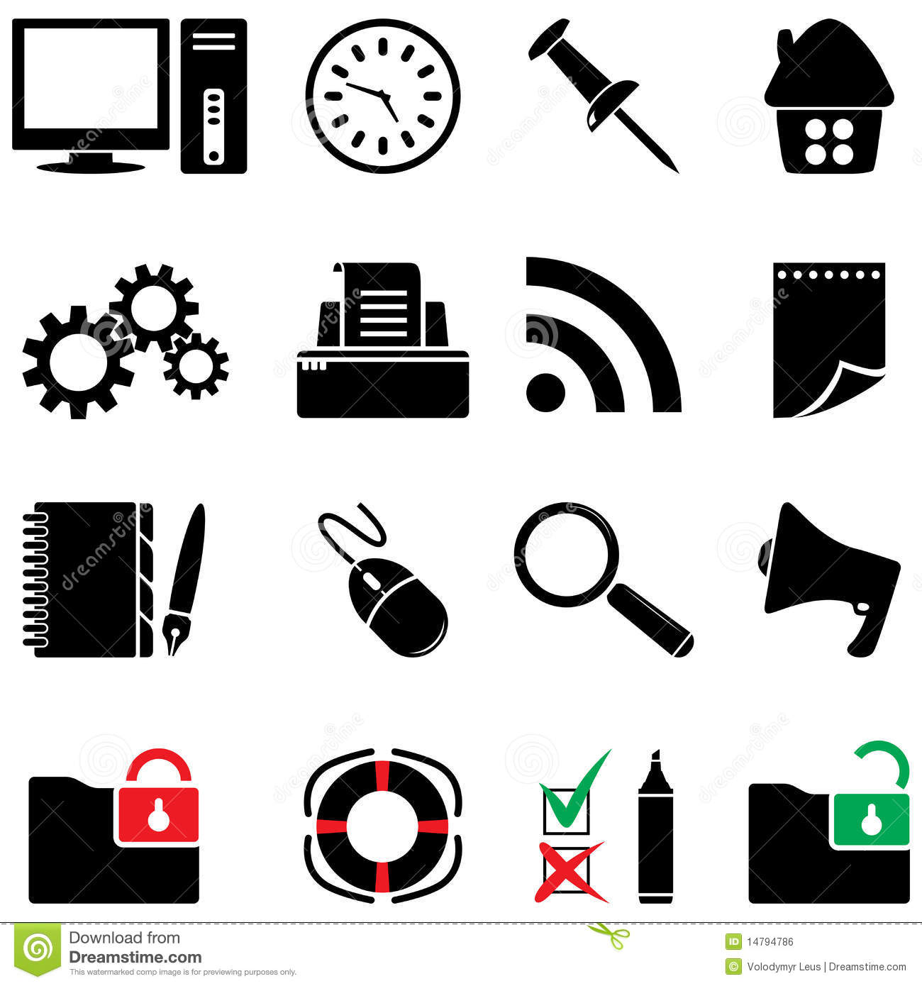 Computer Icon Set Black And White Colors Stock Vector