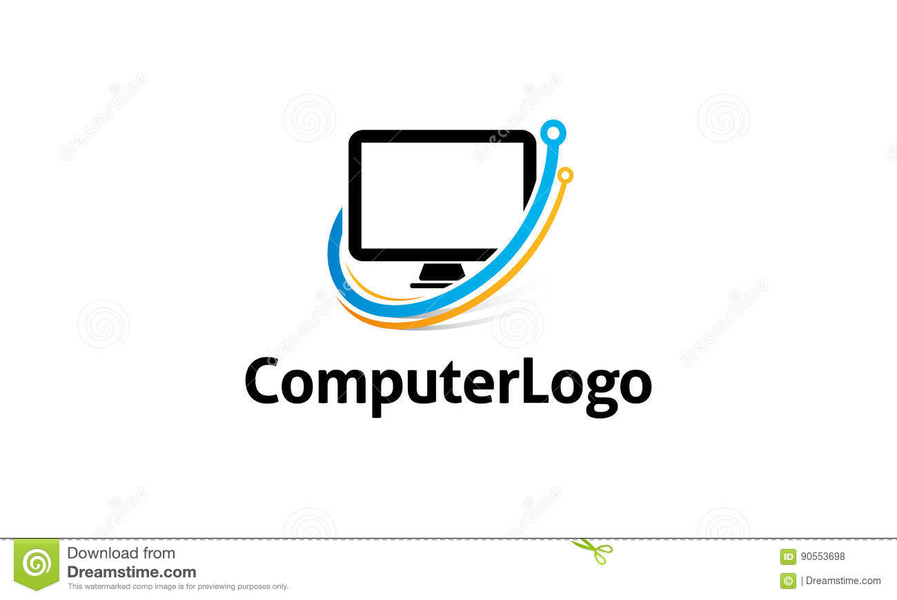 Computer Logo Stock Vector Illustration Of Simple