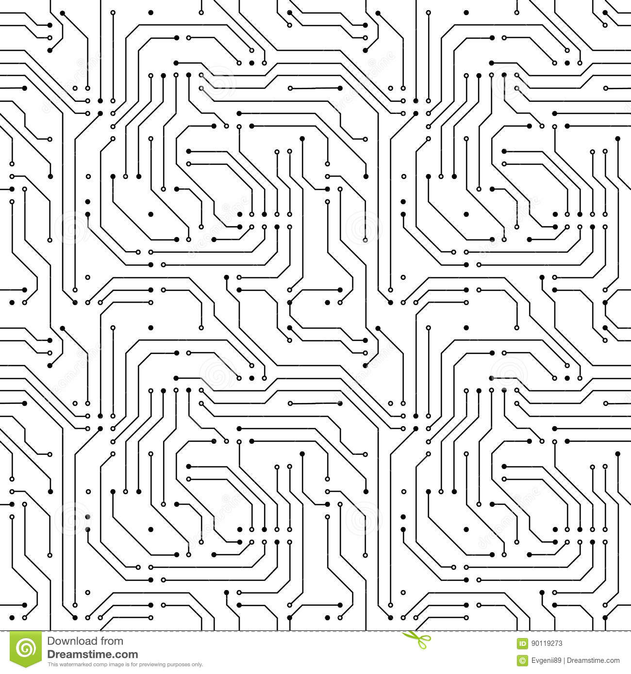 Computer Microchip Seamless Pattern On White Stock Vector