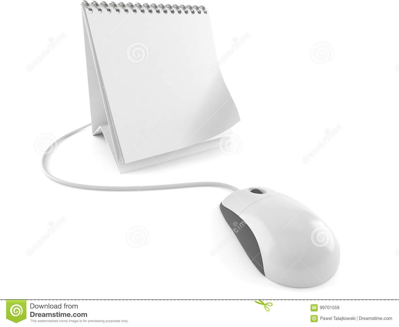 Computer Mouse With Blank Calendar Stock Illustration