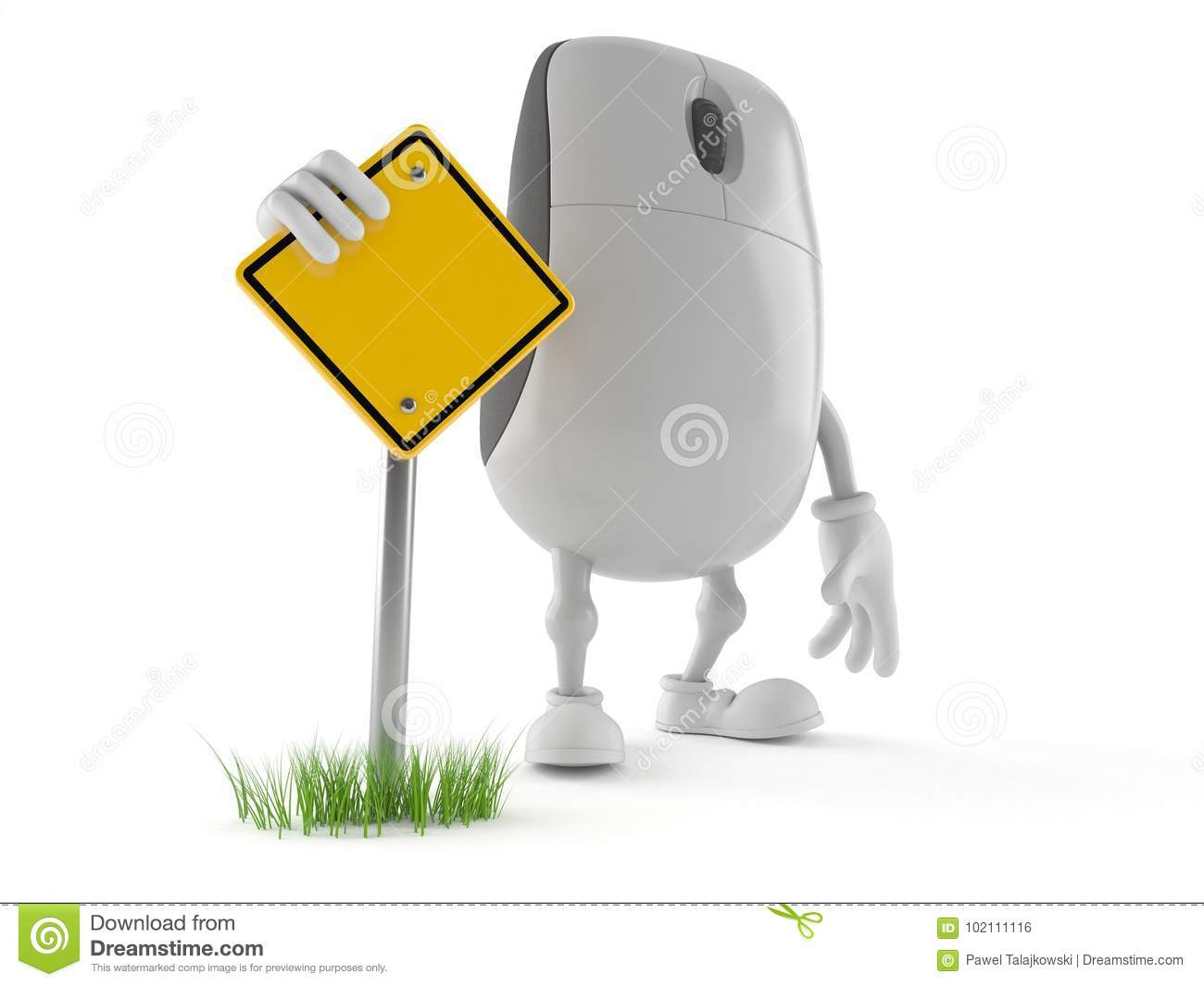 Computer Mouse Character With Blank Road Sign Stock