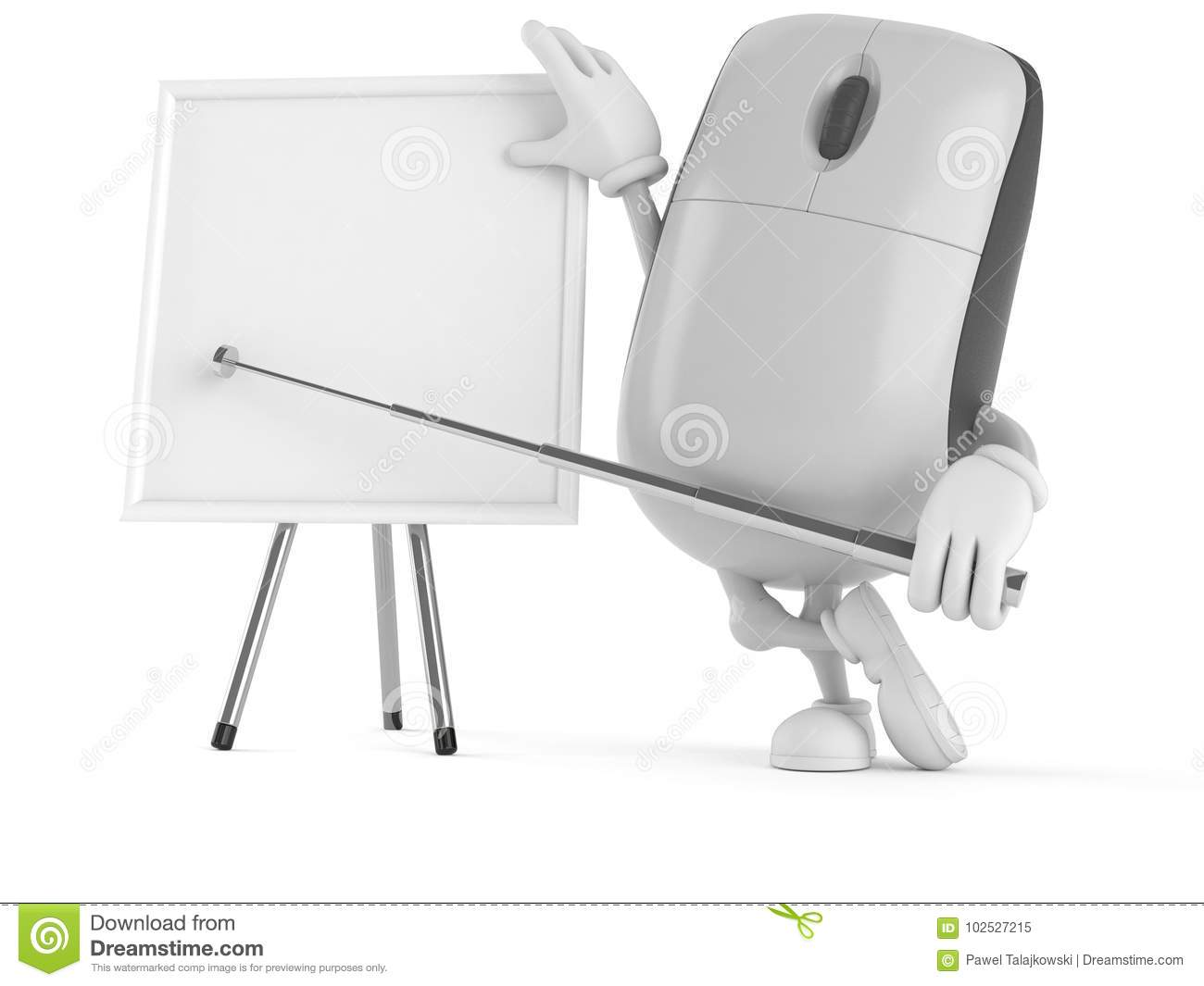 Computer Mouse Character With Blank Whiteboard Stock