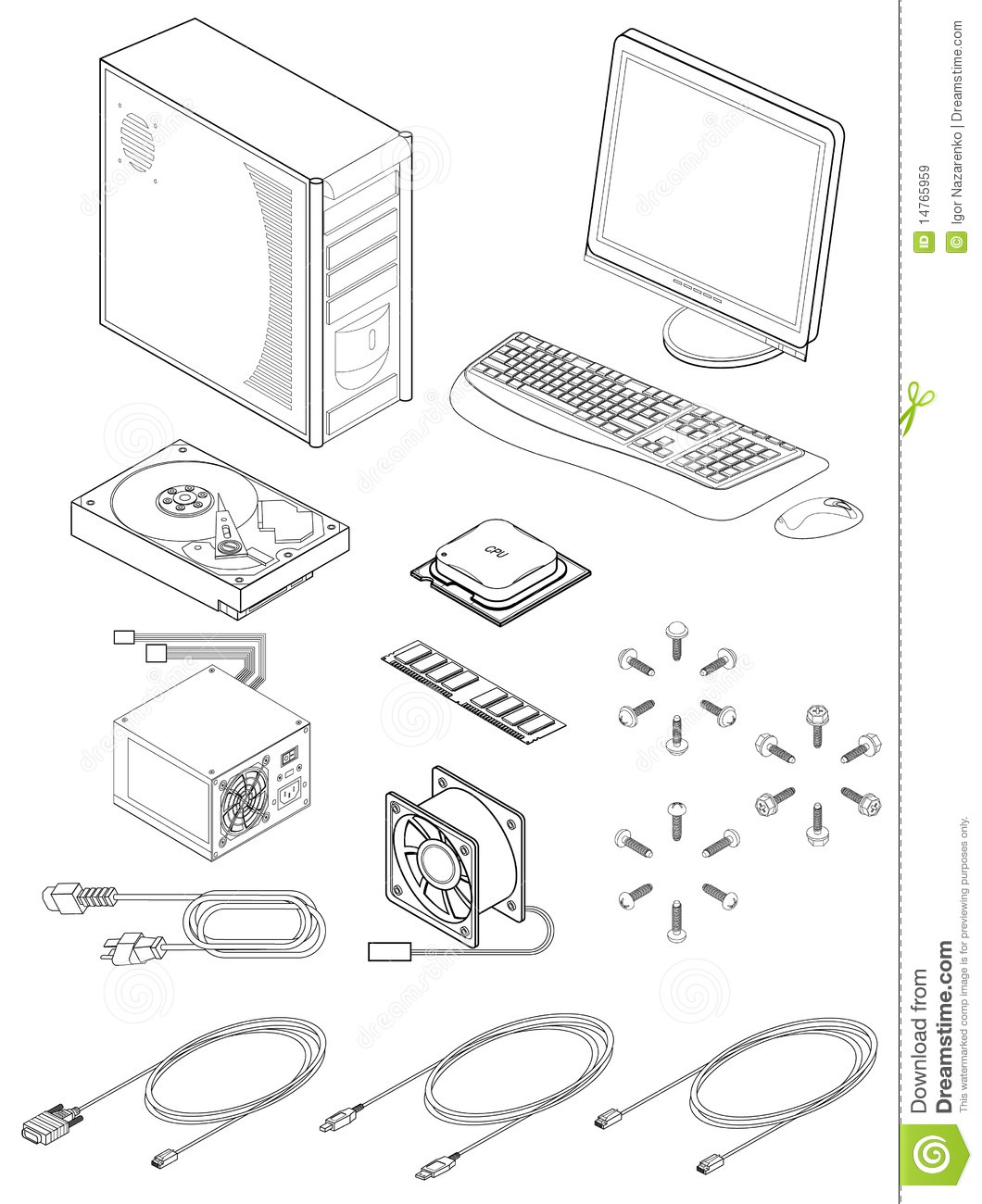 Computer Parts And Accessories Royalty Free Stock Images
