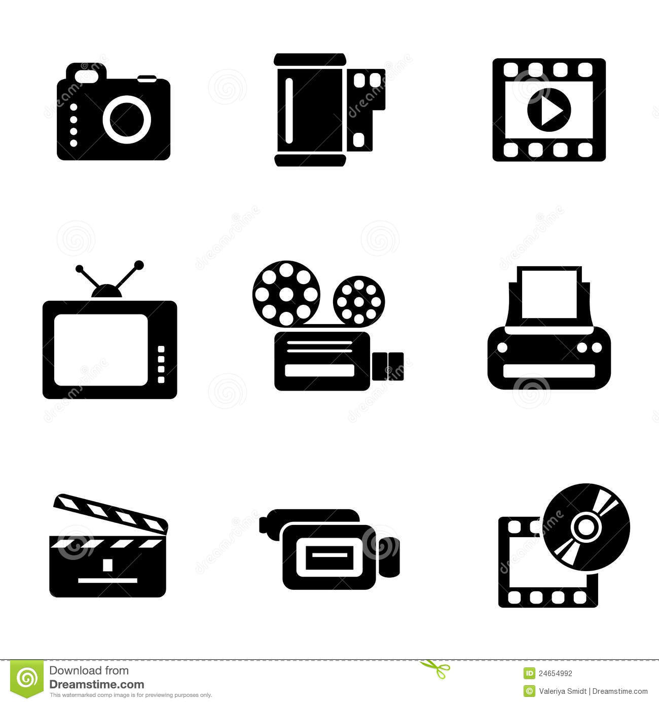 Computer Photo Video Icons Stock Photography