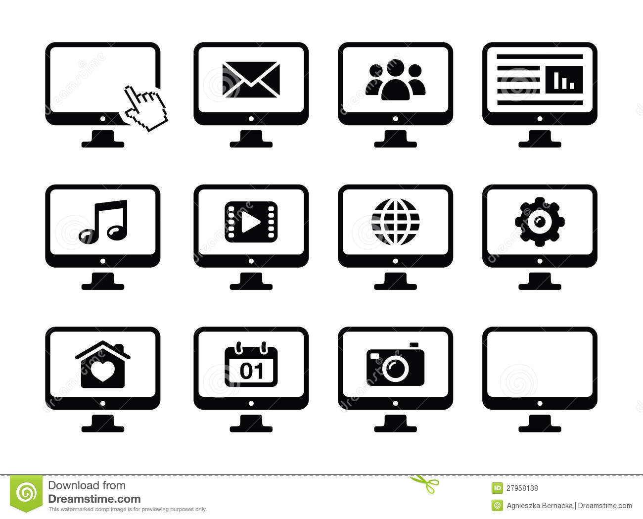 Computer Screen Black Icons Set Stock Illustration