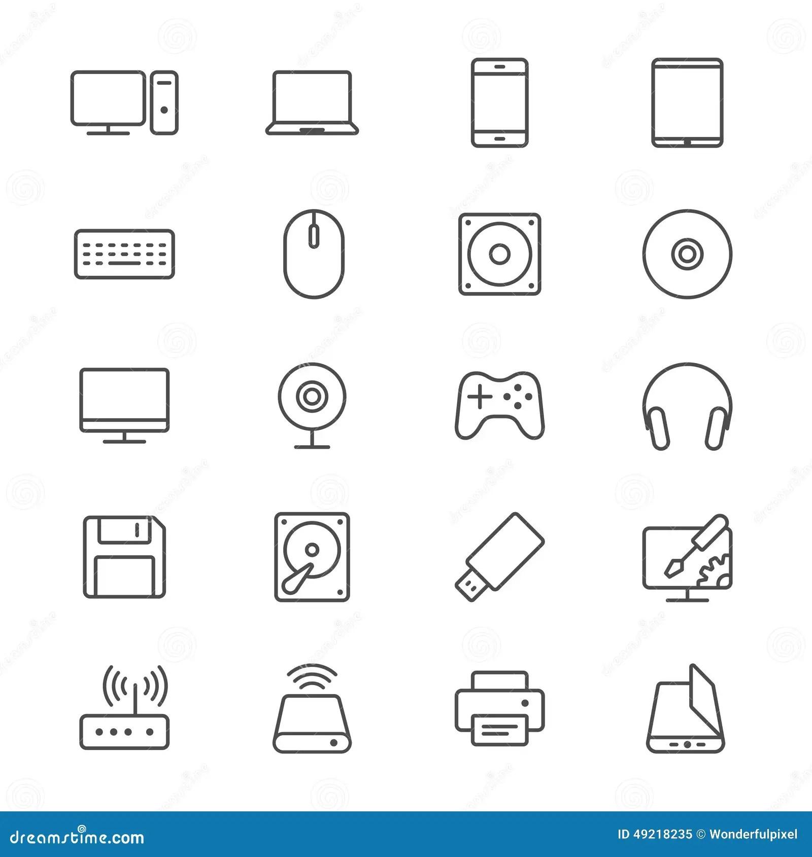 Computer Thin Icons Stock Vector Illustration Of Desktop