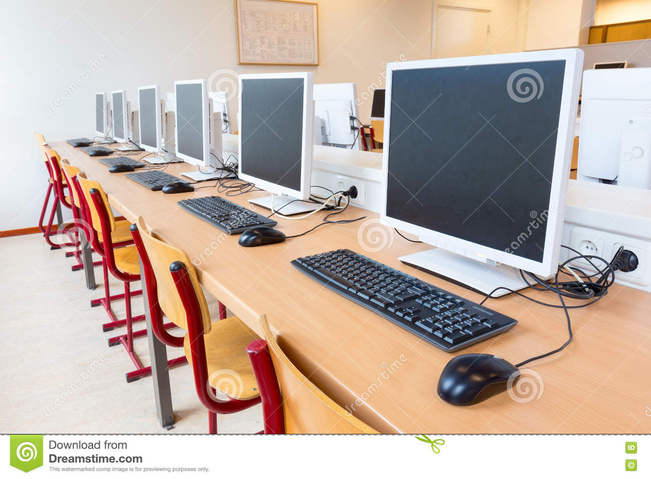Computers In Classroom On High School Stock Photo