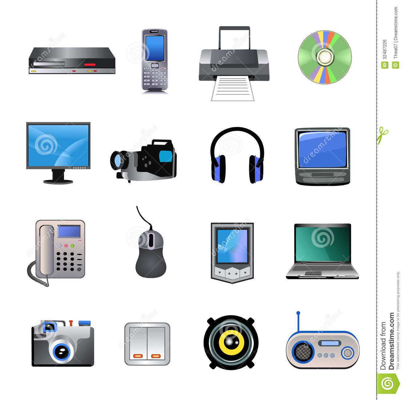 Computers And Electronics Icons Stock Vector