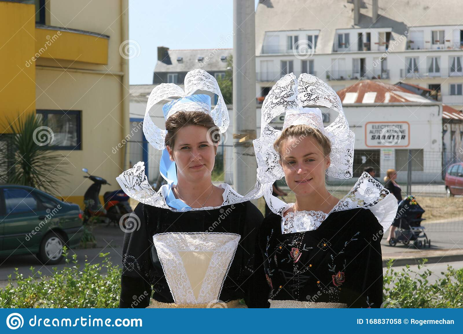 Concarneau Brittany France People In Traditional Clothing