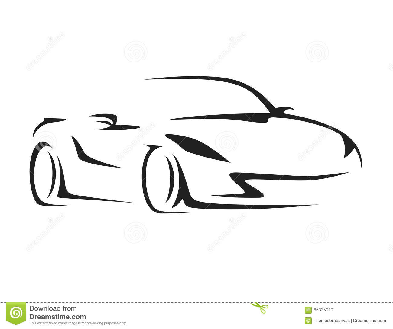 Concept Car With Supercar Sports Vehicle Silhouette Stock