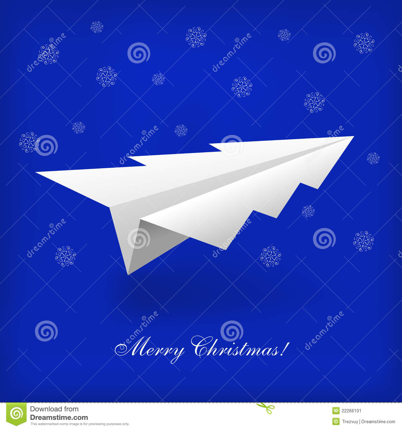 Concept Of The Christmas Tree And Origami Airplane Stock