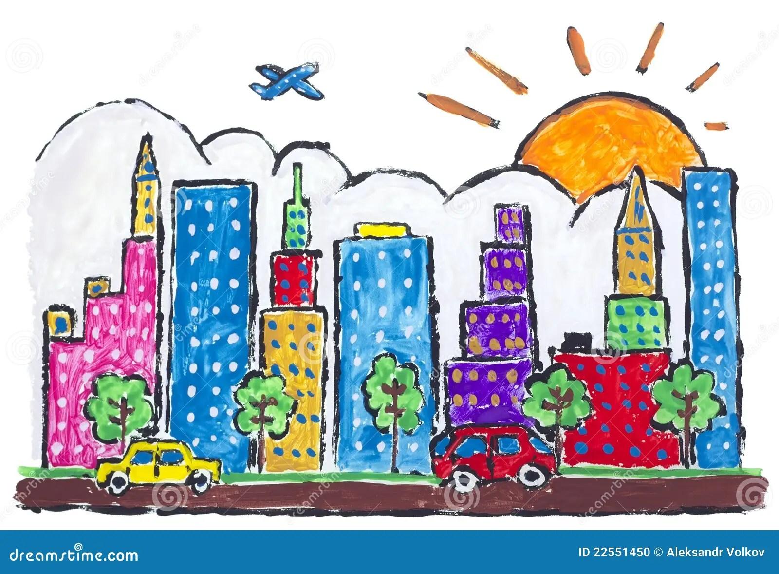 Concepto Pintado Ciudad Grande De La Ciudad Stock De