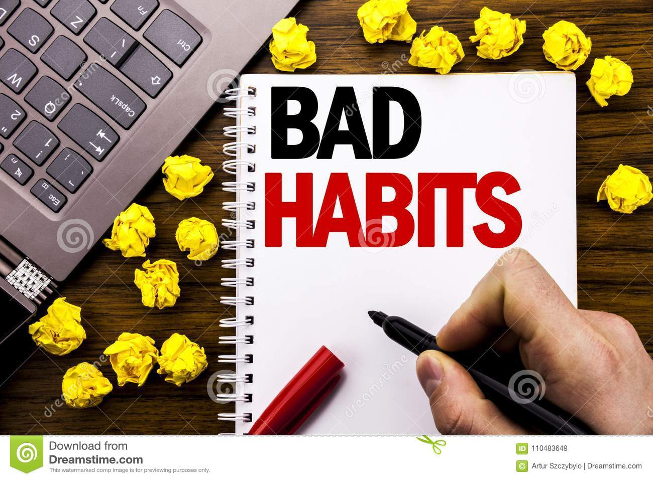 Conceptual Hand Writing Text Caption Bad Habits Business