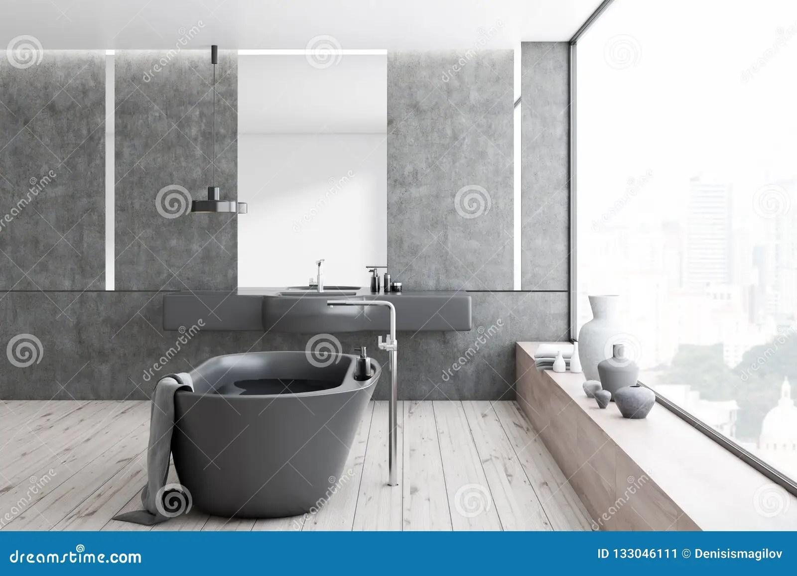 Concrete Bathroom Black Tub And Sink Stock Illustration