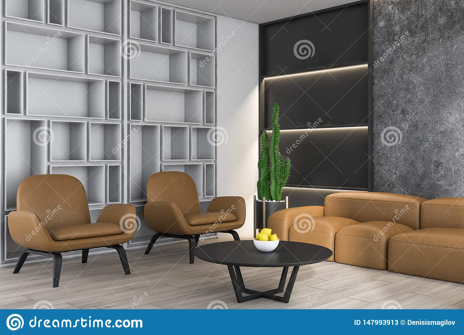 Concrete Living Room With Sofa And Bookcase Stock