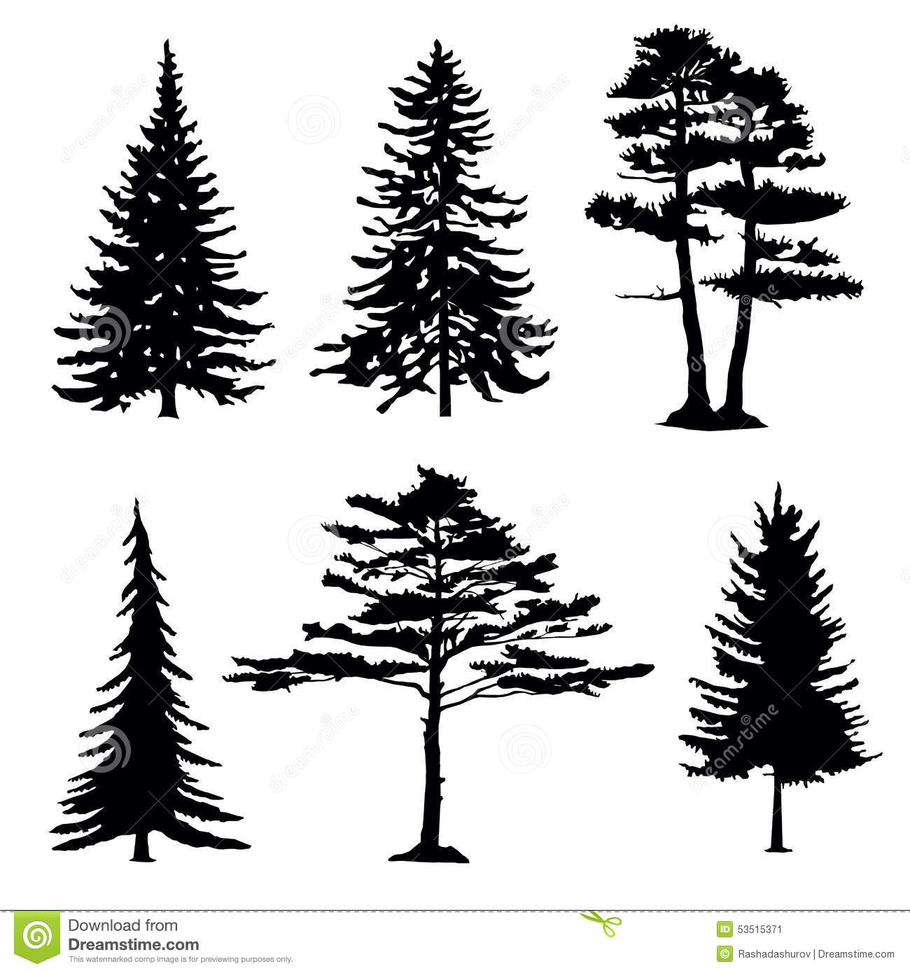 Coniferous Trees Silhouettes Collection Stock Vector