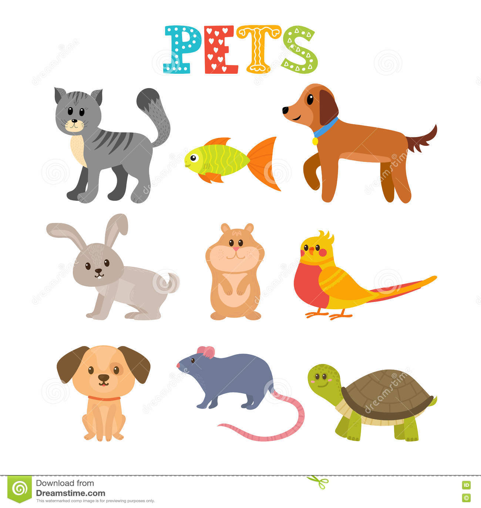 Conjunto De Animales Domesticos Animales Caseros Lindos En