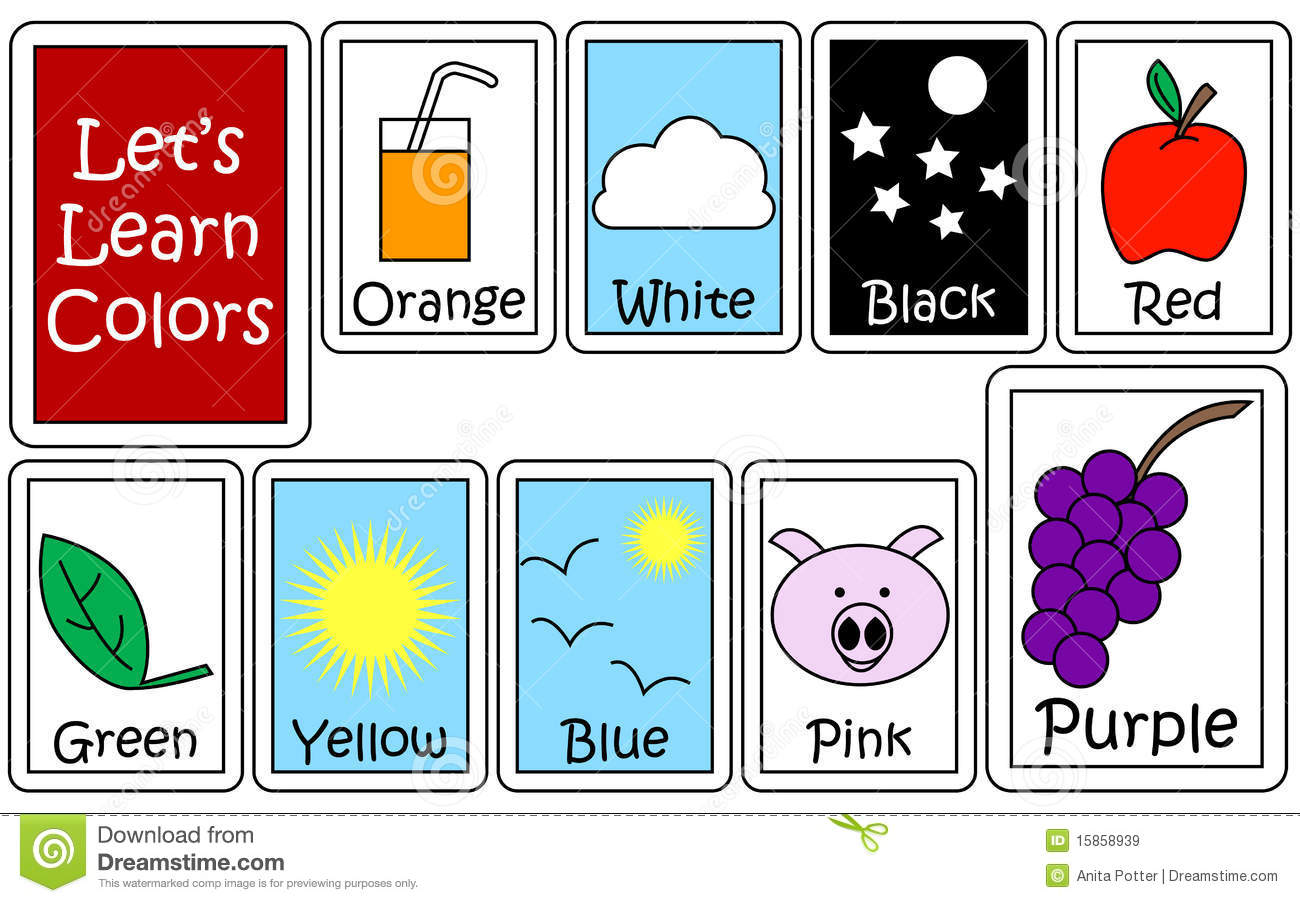 Conjunto De Color Flashcards Imagenes De Archivo Libres De