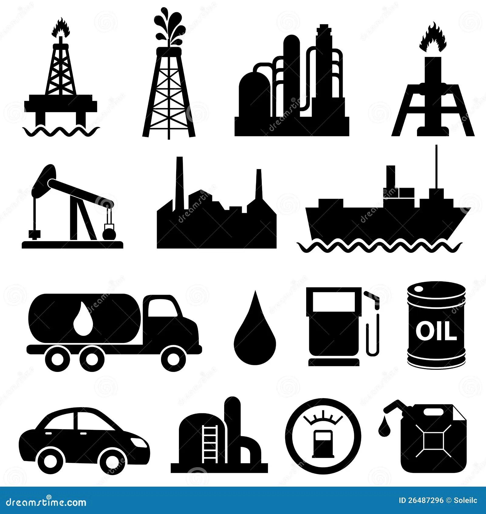 Conjunto Del Icono De La Industria De Petroleo Ilustracion