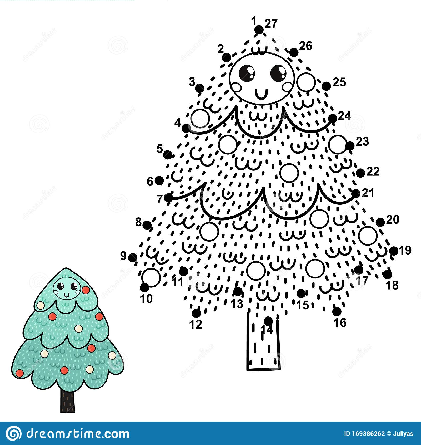 Connect The Dots Ands Draw A Funny Christmas Tree Stock