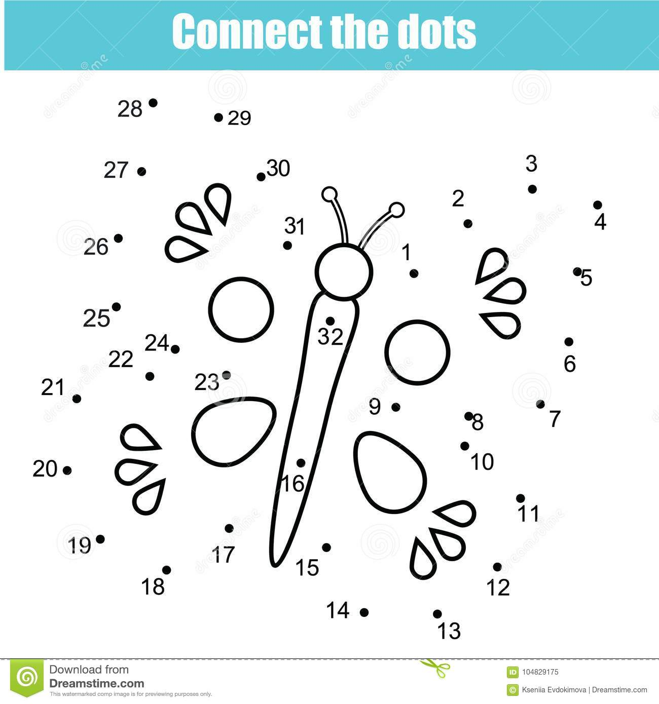 Connect The Dots By Numbers Children Educational Game