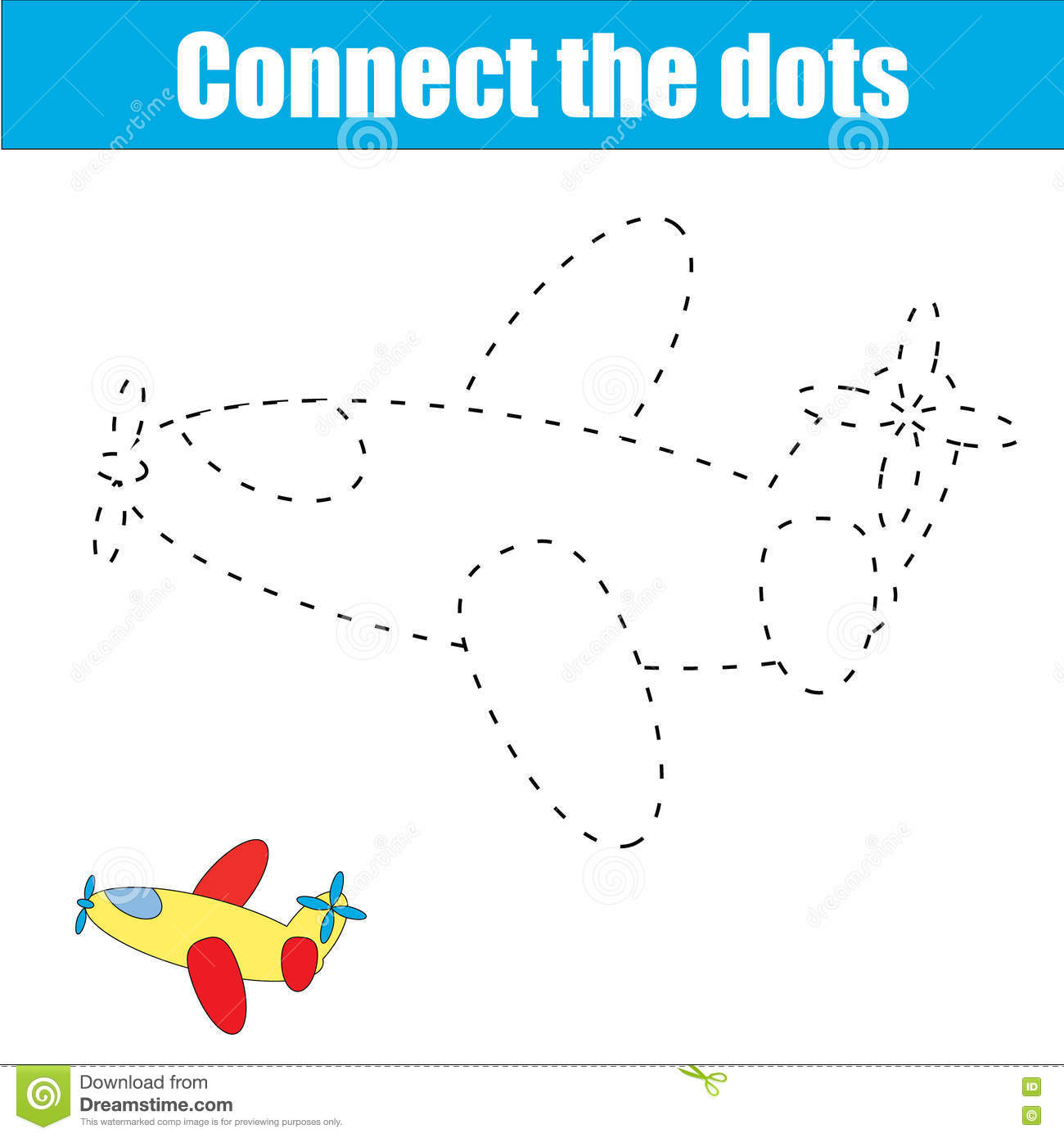 Cartoon Plane Dot To Dot Game For Kids Cartoon Vector