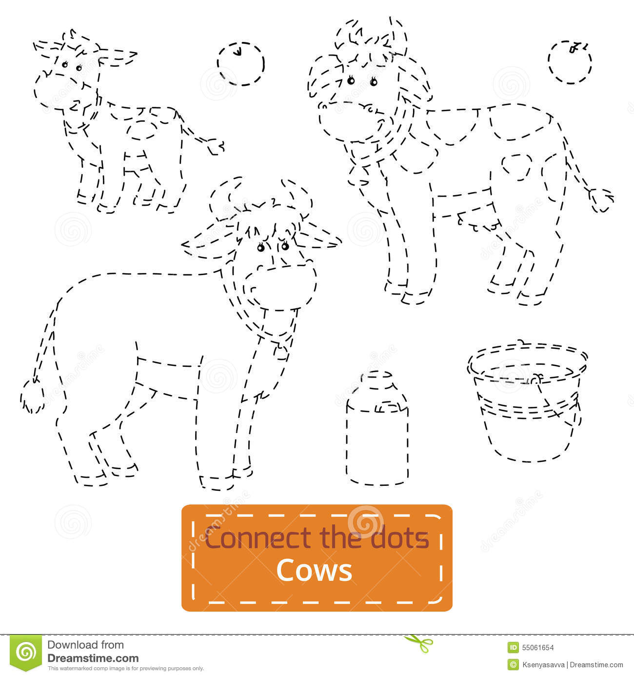 Connect The Dots Farm Animals Set Cow Family Stock