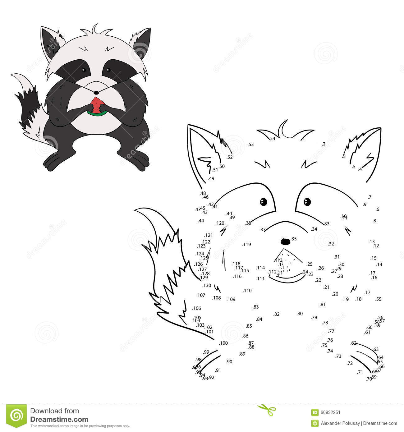 Connect The Dots Game Raccoon Vector Illustration Stock Vector