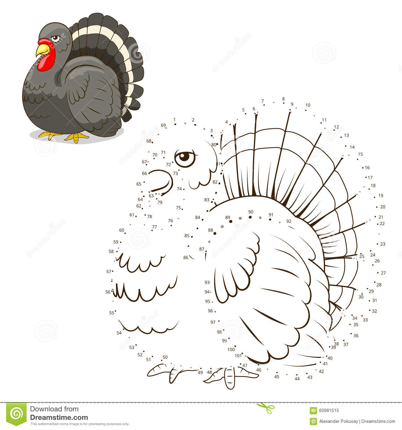 Connect The Dots Game Turkey Vector Illustration Stock Vector