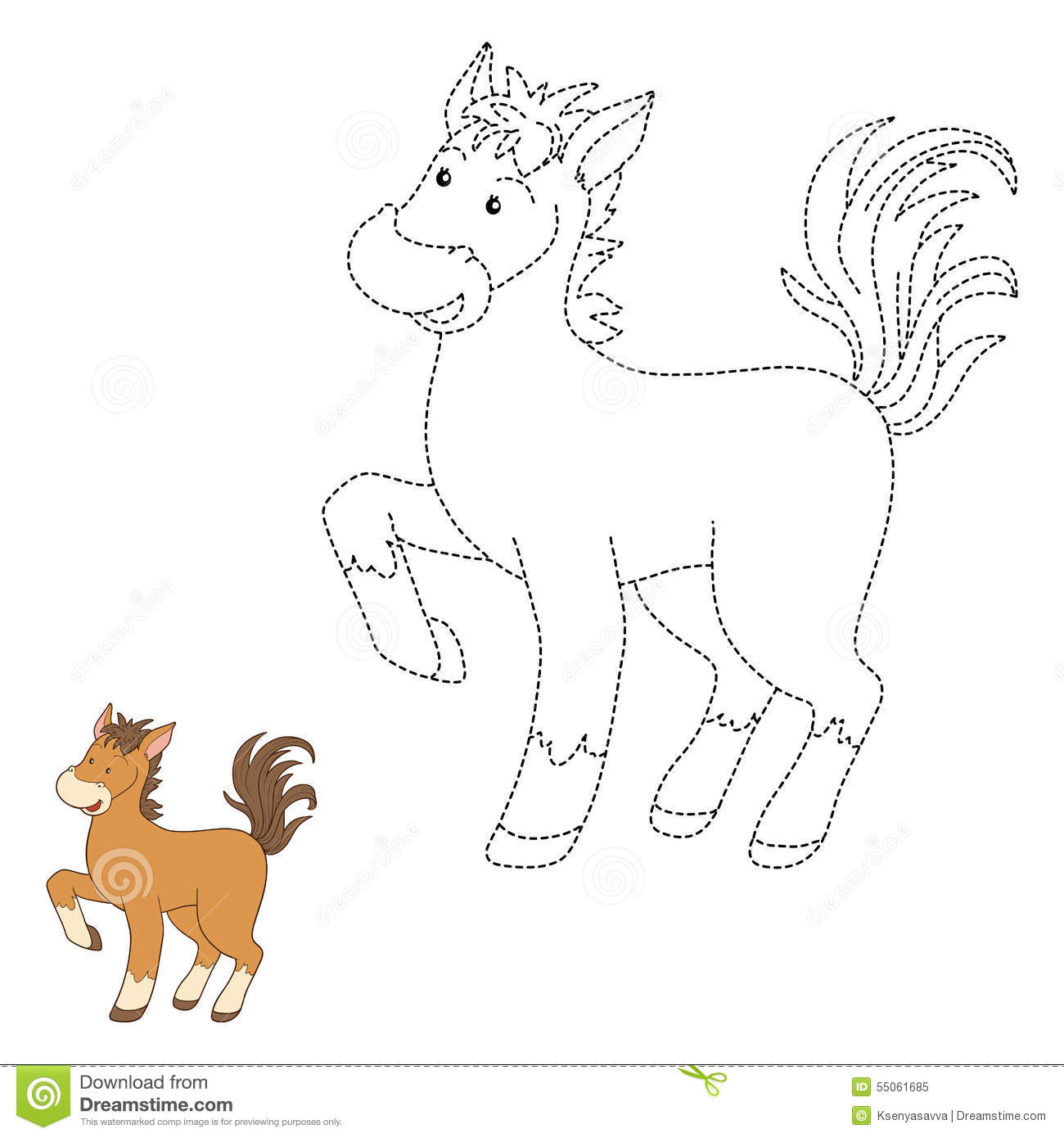 Connect The Dots Horse Stock Vector Illustration Of