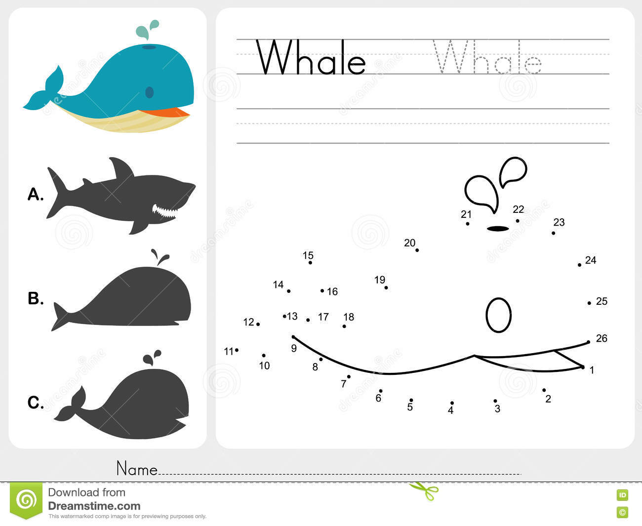 Connect Dots And Match Whale With Shadow Stock Vector