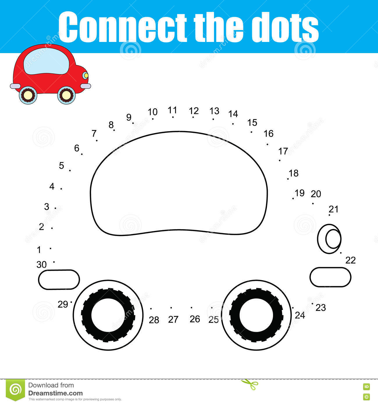 Car Connect The Dots Worksheet