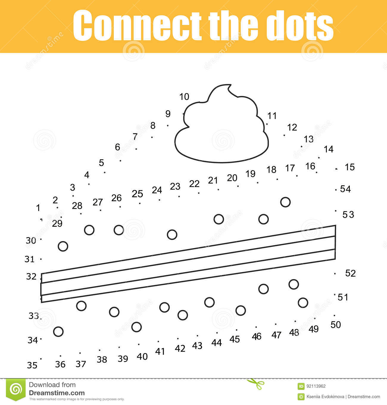 Connect The Dots By Numbers Children Educational Game Printable Worksheet Activity Food Theme