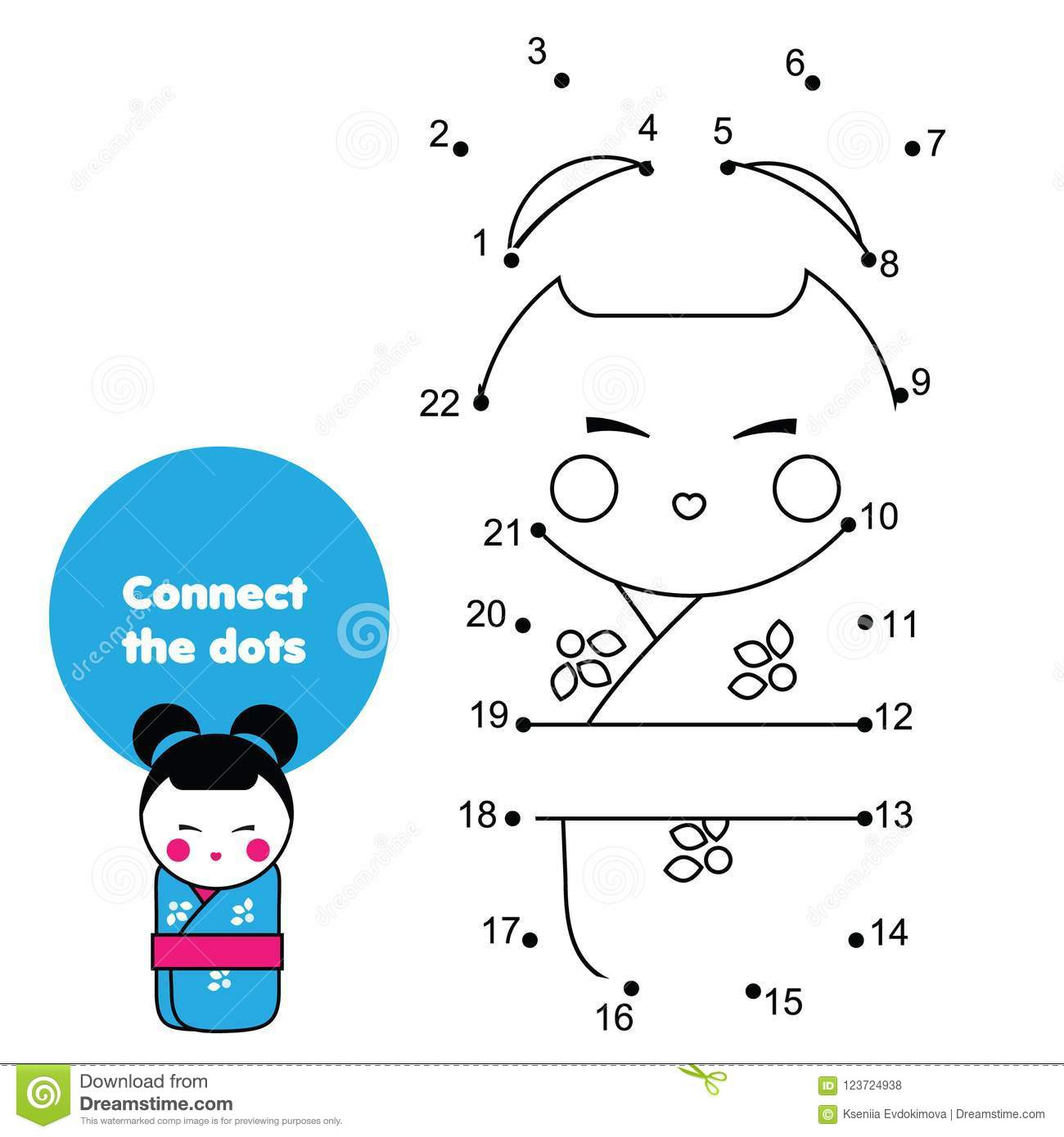 Connect The Dots By Numbers Educational Game For Children And Kids Japanese Kokeshii Doll In