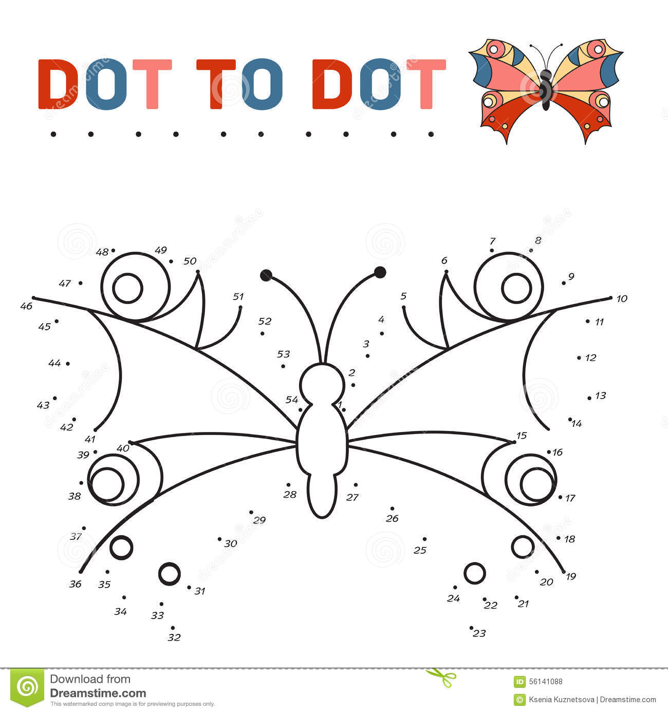 Connect The Dots And Paint A Butterfly On A Sample Stock