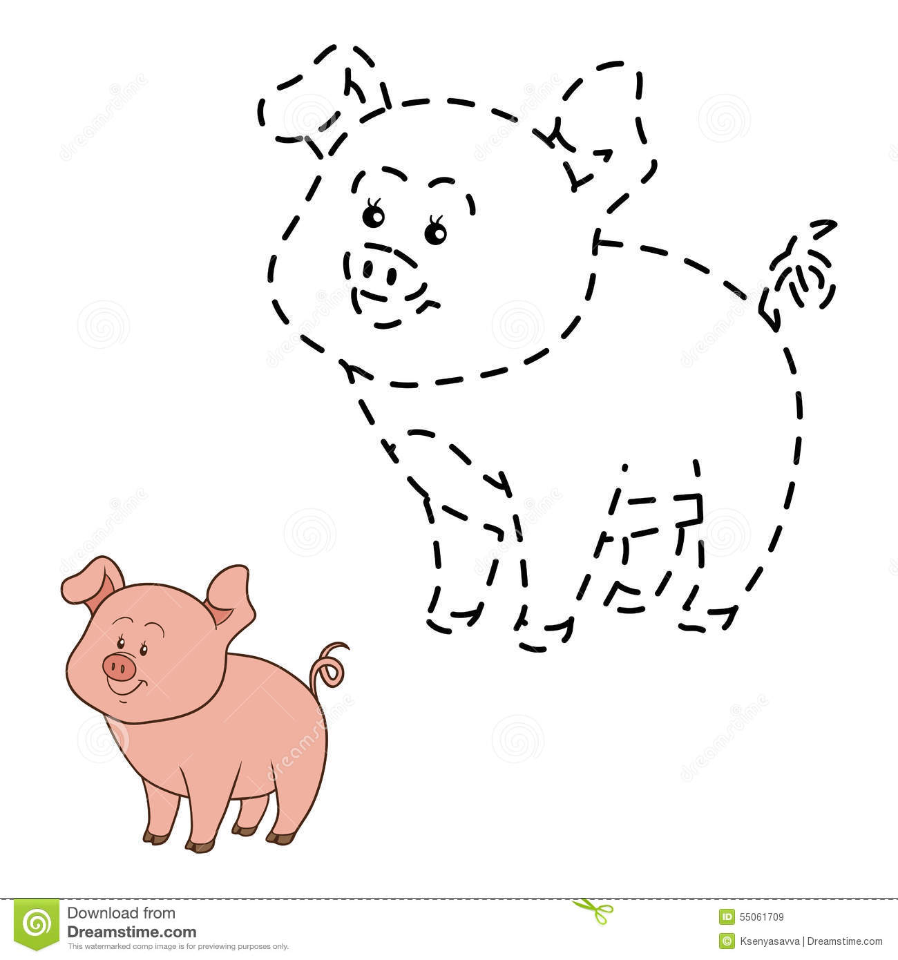 Connect The Dots Pig Stock Vector Illustration Of Farm
