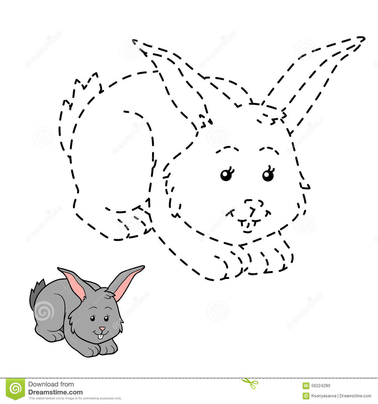 Connect The Dots Rabbit Stock Vector