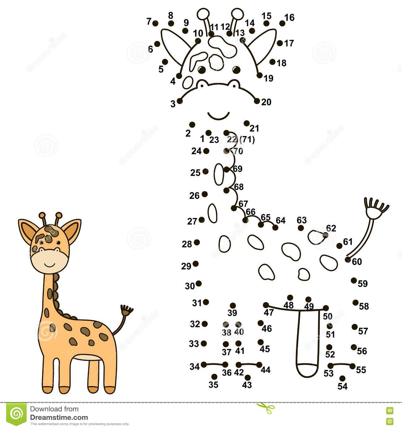 Connect The Dots To Draw A Cute Giraffe And Color It Stock
