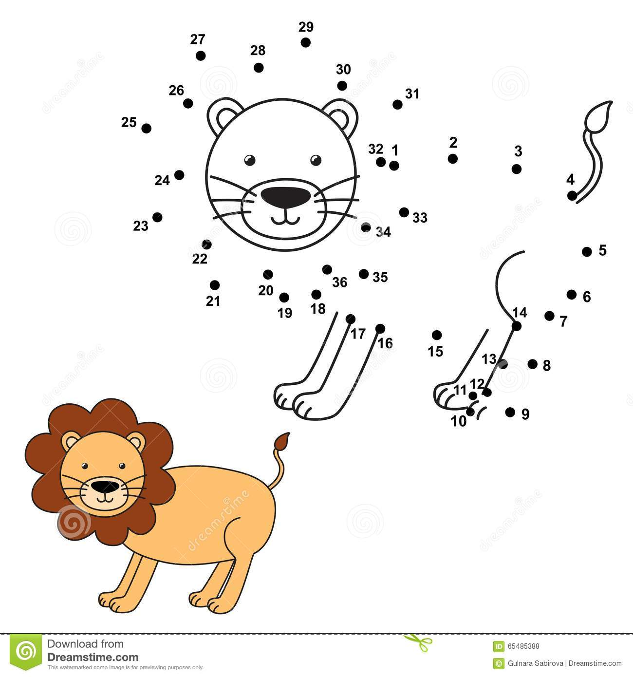 Connect The Dots To Draw The Cute Lion And Color It