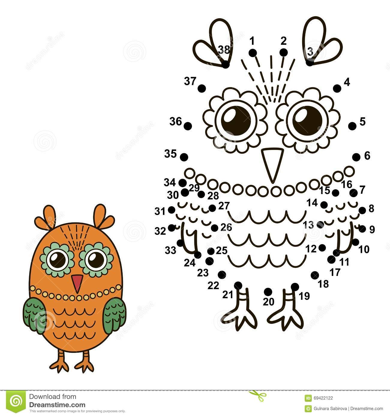 Connect The Dots To Draw The Cute Owl And Color It Stock