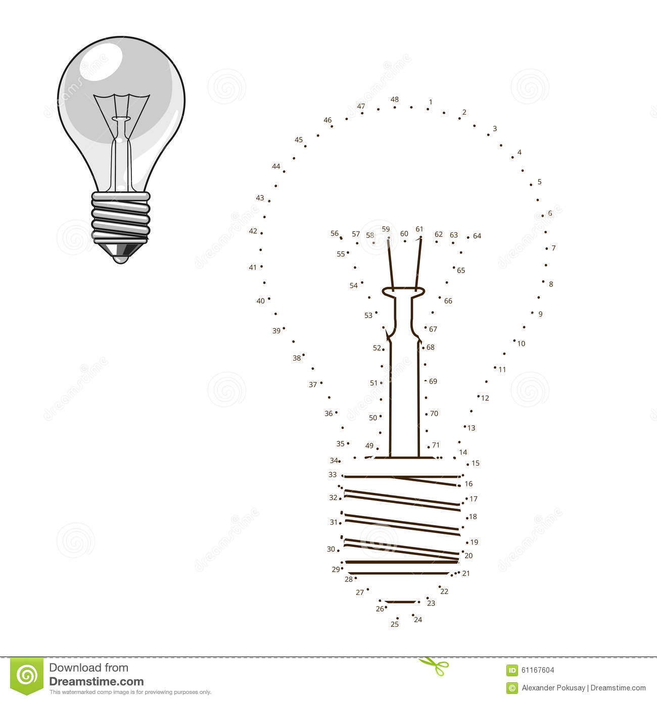 Connect Dots To Draw Lightbulb Educational Game Stock