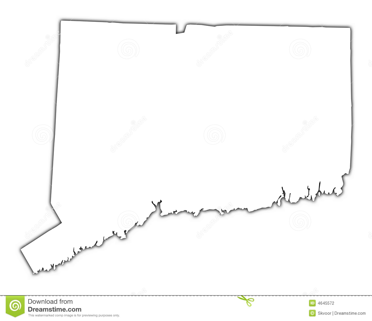 Connecticut Outline Map Stock Illustration Illustration
