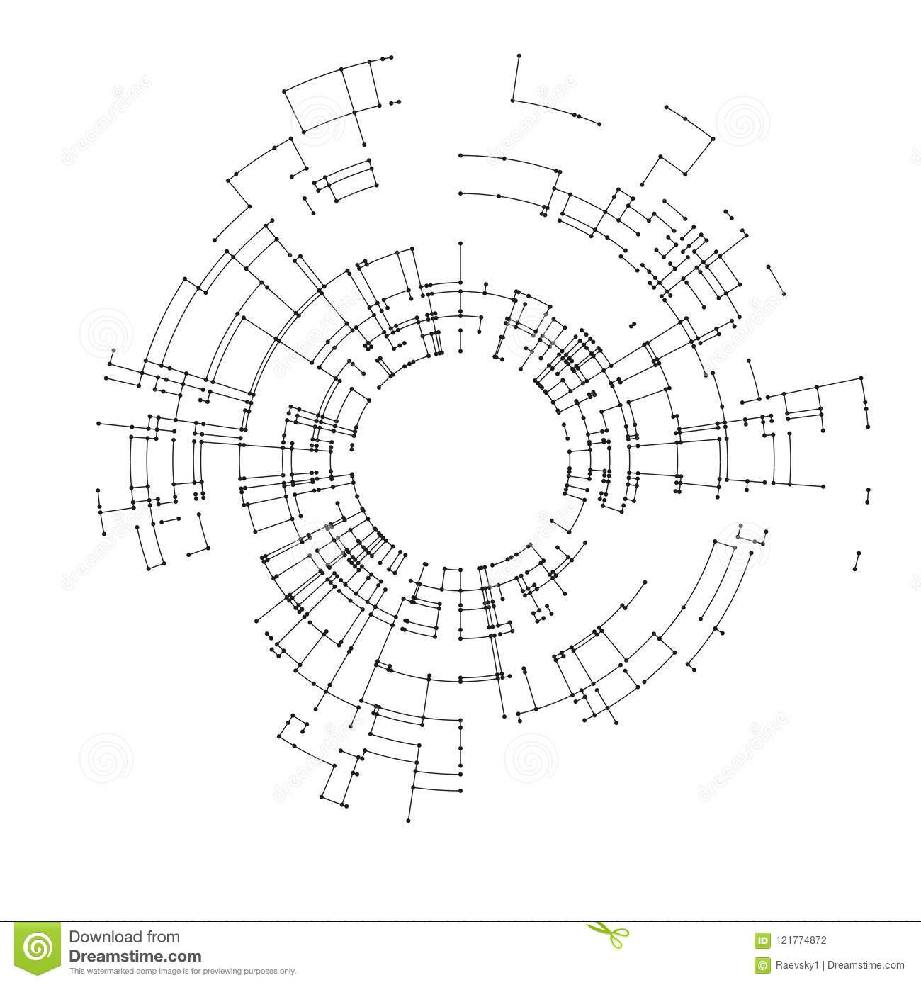 Connecting Lines And Dots On White Background Abstract